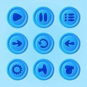 Постер, плакат: Game UI vector set of blue buttons for mobile game