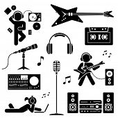 Pictogram of teenagers having fun. Vector set of flat icons.