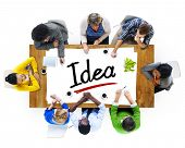 Multiethnic Group of People with Idea Concept
