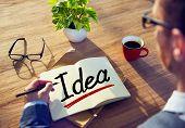 A Man Brainstorming about Idea Concept