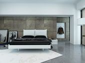 Interior of Sparsely Decorated Modern Bedroom with Bed