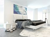 Interior of Modern White Bedroom in Apartment with Bed and Minimal Furniture