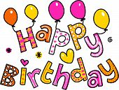Happy Birthday Cartoon Text Clipart