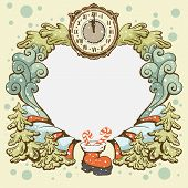 Christmas wreath retro card template