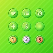 Set of bright green game UI vector elements