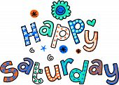 Постер, плакат: Happy Saturday Cartoon Text Clipart