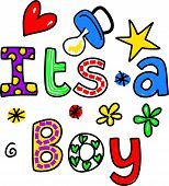 It's a Boy Cartoon Text Clipart