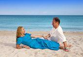 the loving couple on the seashore Cuba Varadero