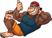 picture of gorilla  - Cool cartoon gorilla relaxing - JPG