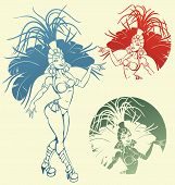 pic of samba  - silhouettes of a attractive  samba dancer queen - JPG