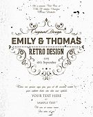 Vintage Elegant Wedding Invitation. Concrete Wall Texture Background. Retro Frame.