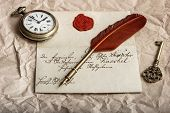 Nostalgic Background With Old Letter And Vintage Ink Pen