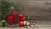 Vintage Christmas Decoration With Candles And Cookies