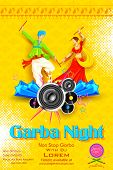 image of navratri  - illustration of people dancing on disc in Garba night - JPG