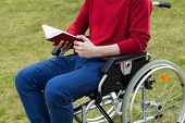 Disabled Man Reading Book In The Garden
