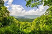picture of gatlinburg  - Panoramic overlook from the Great Smoky Mountains National Park - JPG