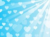 Blue Background with Hearts and Ray of Light