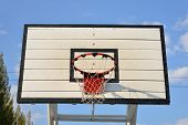 Basketball Hoop With Blue Sky Background