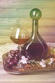 Beautiful still life with wine bottles