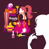 Beautiful woman silhouette with fashion icons. Shopping girl.