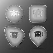 Graduation cap. Glass buttons. Vector illustration.