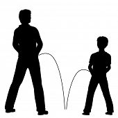 foto of urinate  - Illustrated silhouettes of a man and boy urinating together - JPG