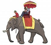 Illustration of tourists riding on an Asian elephant with mahout
