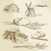 bread, farm, windmill and watermill - hand drawn illustration