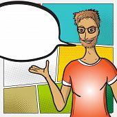 Pop Art Man Face With Comic Speech Bubble