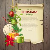 Bright Christmas background with vintage manuscript and place for your text!