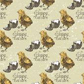 Hand drawn Easter seamless with chicks and broken eggshell