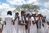 SIGIRIYA, SRI LANKA - 28 FEBRUARY, 2014: Group of school students visiting Sigiriya complex, UNESCO listed World Heritage Site.