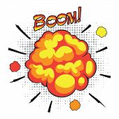 Comic book speech bubbles depicting of sounds explosions with motion puffs.