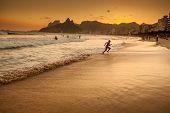 foto of ipanema  - View of Ipanema Beach in the evening Brazil - JPG