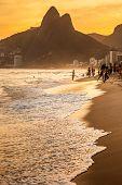 stock photo of ipanema  - View of Ipanema Beach in the evening Brazil - JPG