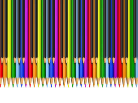 image of rainbow piano  - color and black pencils as piano keys  - JPG