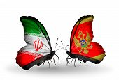 Two Butterflies With Flags On Wings As Symbol Of Relations Iran And Montenegro