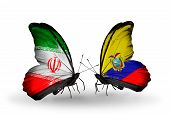Two Butterflies With Flags On Wings As Symbol Of Relations Iran And Ecuador
