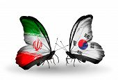 Two Butterflies With Flags On Wings As Symbol Of Relations Iran And South Korea