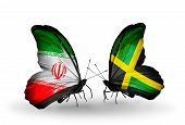 Two Butterflies With Flags On Wings As Symbol Of Relations Iran And  Jamaica
