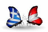 Two Butterflies With Flags On Wings As Symbol Of Relations Greece And Austria