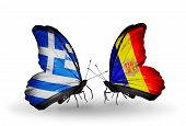 Two Butterflies With Flags On Wings As Symbol Of Relations Greece And Andorra