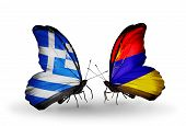 Two Butterflies With Flags On Wings As Symbol Of Relations Greece And Armenia