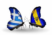 Two Butterflies With Flags On Wings As Symbol Of Relations Greece And Barbados