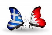 Two Butterflies With Flags On Wings As Symbol Of Relations Greece And Bahrain