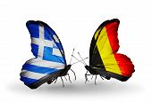 Two Butterflies With Flags On Wings As Symbol Of Relations Greece And Belgium