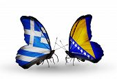 Two Butterflies With Flags On Wings As Symbol Of Relations Greece And Bosnia And Herzegovina