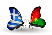 Two Butterflies With Flags On Wings As Symbol Of Relations Greece And Burkina Faso