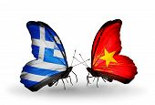 Two Butterflies With Flags On Wings As Symbol Of Relations Greece And Vietnam