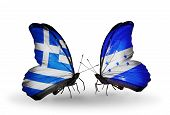 Two Butterflies With Flags On Wings As Symbol Of Relations Greece And Honduras